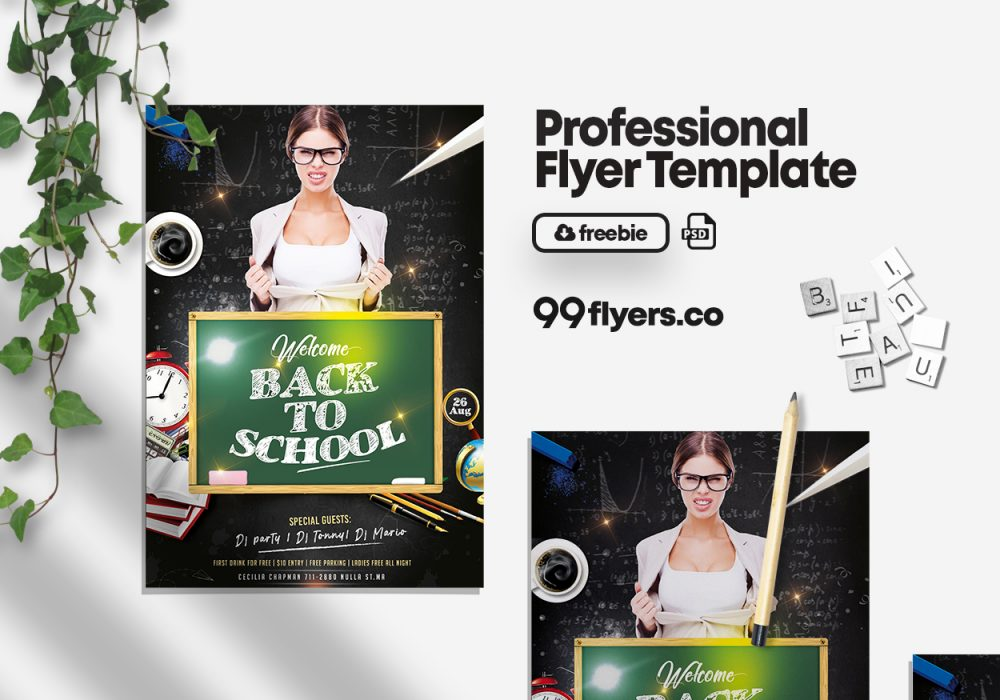 Back To School Party Free PSD Flyer Template
