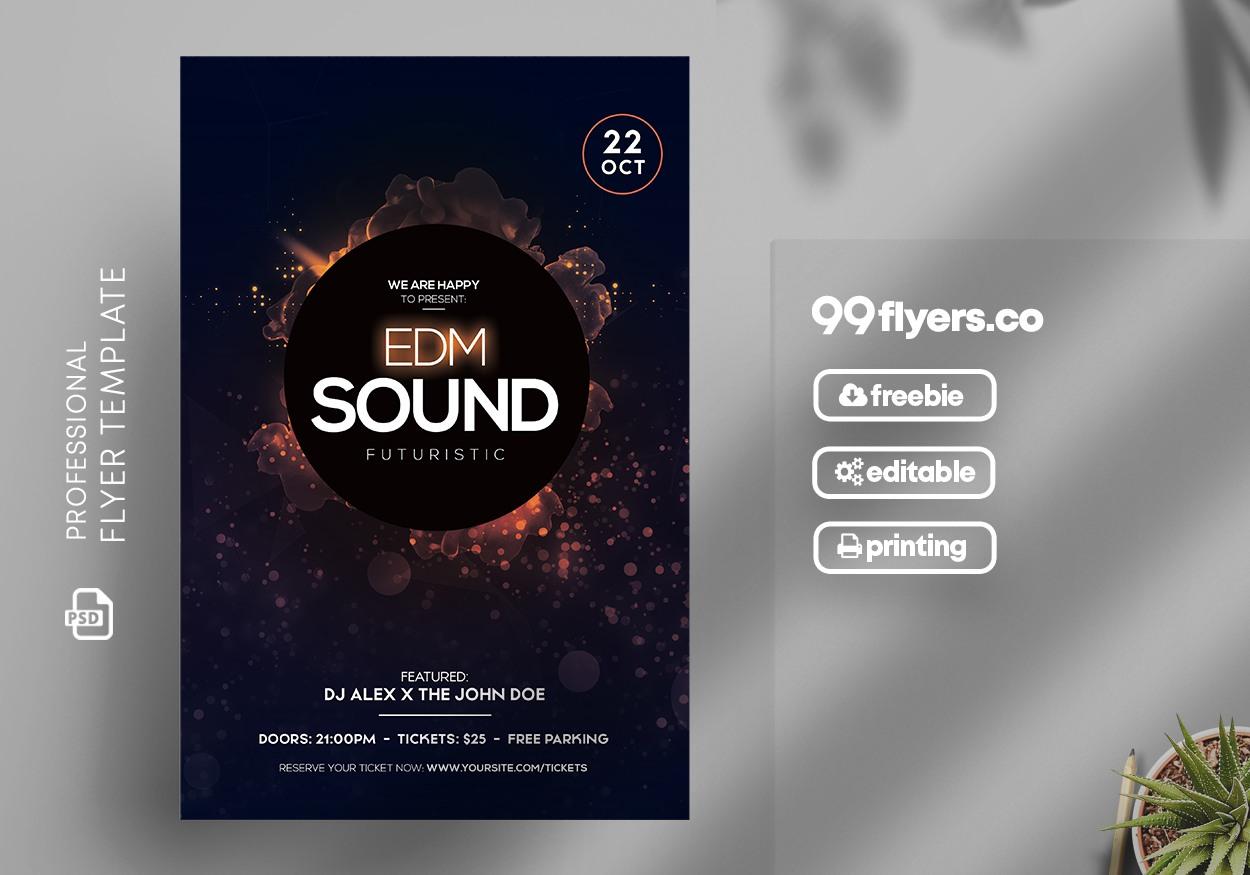 EDM Sound Futuristic Free PSD Flyer Template