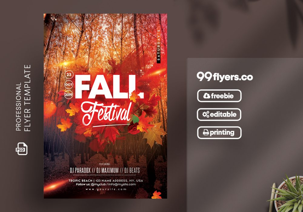 Fall Festival Party Free Psd Flyer Template Free Psd Flyer