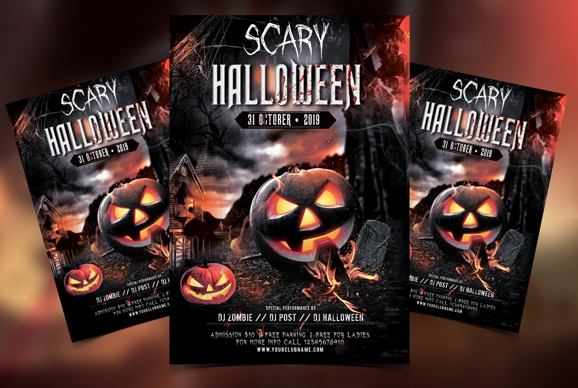 Scary Halloween Party Free PSD Flyer Template