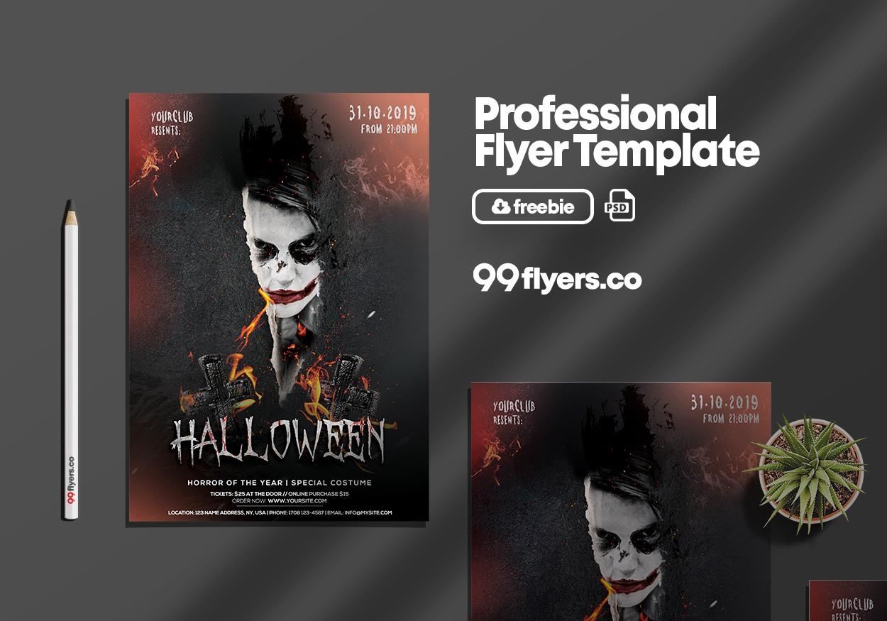 Spooky Night Halloween Free PSD Flyer Template