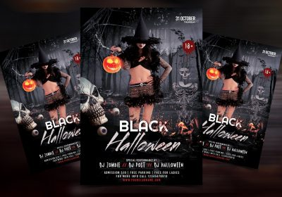 The Black Halloween Party Free Flyer Template