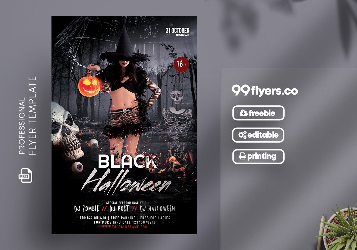 The Black Halloween Party Free PSD Flyer Template