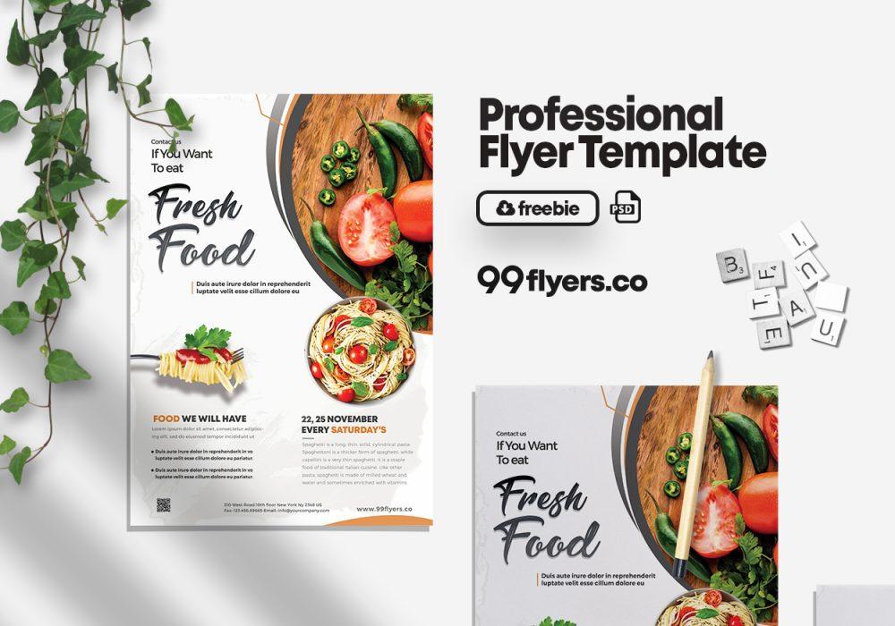 Fresh Food - Restaurant Free PSD Flyer Template