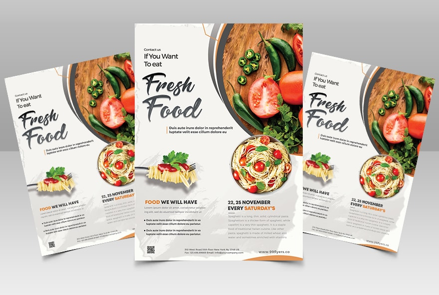 Fresh Food - Restaurant Free PSD Flyer Template