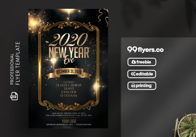 New Year Eve 2020 Free PSD Flyer Template