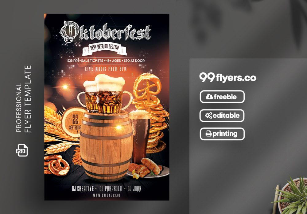 Oktoberfest Party Free PSD Flyer Template