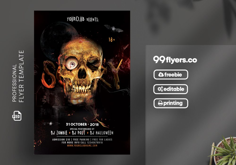 Scary Halloween Flyer Free PSD Template