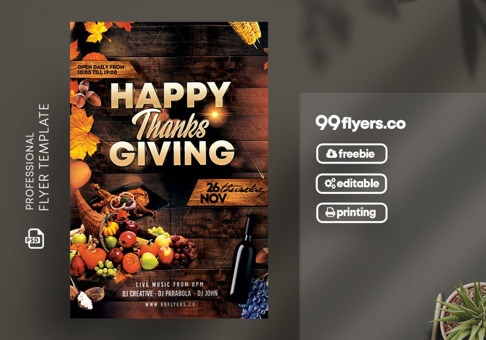Thanksgiving Day Flyer Free Psd Template 99flyers