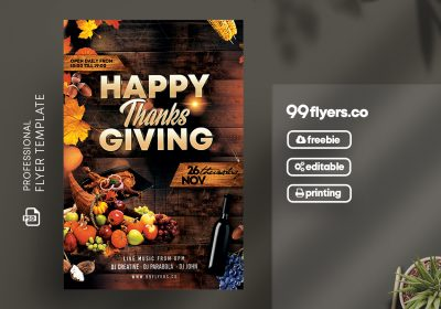 Thanksgiving Day Flyer Free PSD Template