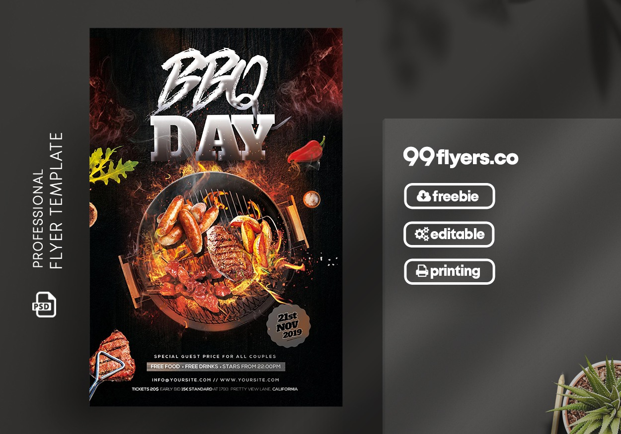 BBQ Day Party Free PSD Flyer Template