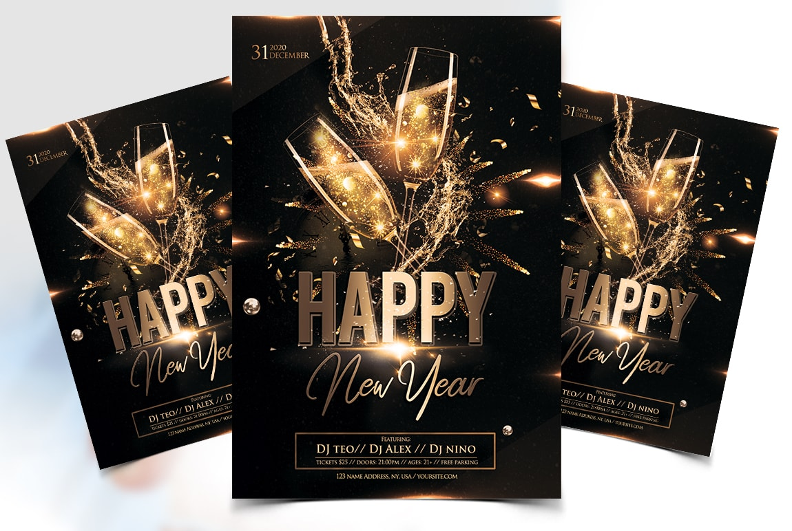 Happy New Year 2020 Free PSD Flyer Template