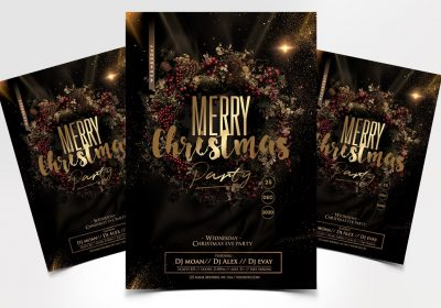 X-Mas Party Flyer Free PSD Template