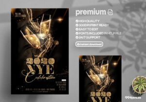 2020 Nye Celebration psd flyer