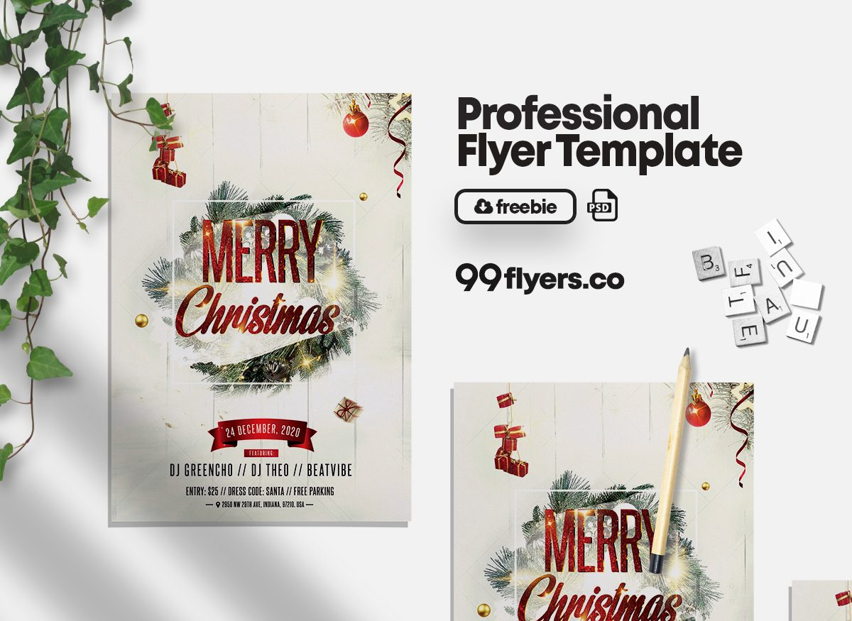 Christmas Celebration Flyer - Free PSD Template