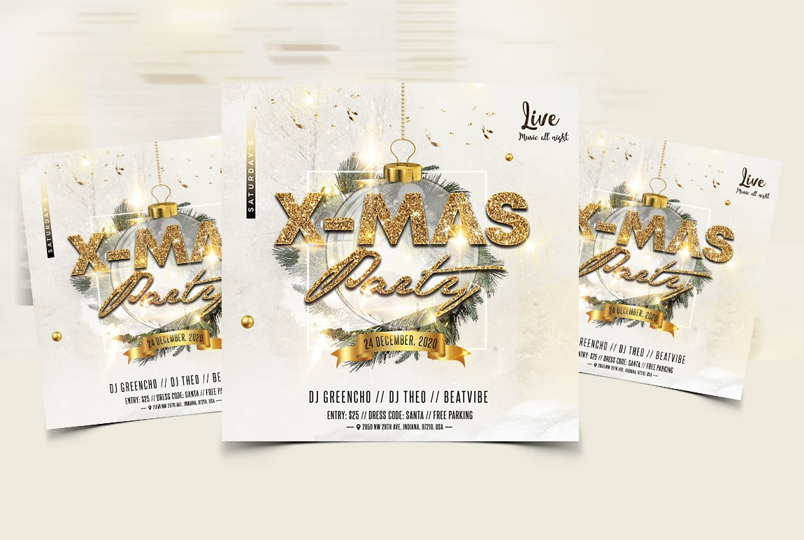 Christmas Event Party Free PSD Flyer Template