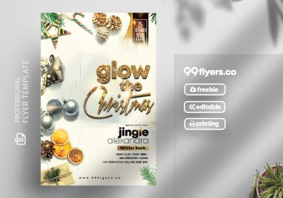 Christmas Glow Party Flyer Free PSD Template