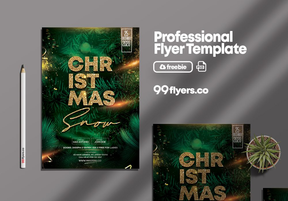 Christmas Snow Party Free PSD Flyer Template