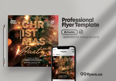 Christmas Sound Party Free PSD Flyer Template