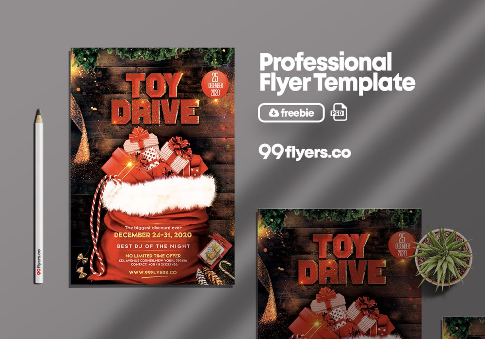 Christmas Toy Drive - Free PSD Flyer Template