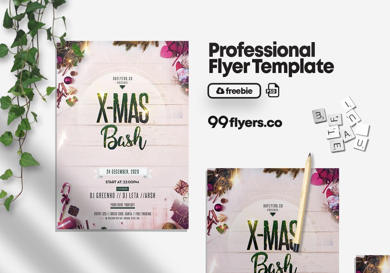 Merry Christmas Celebration Flyer Free PSD Template
