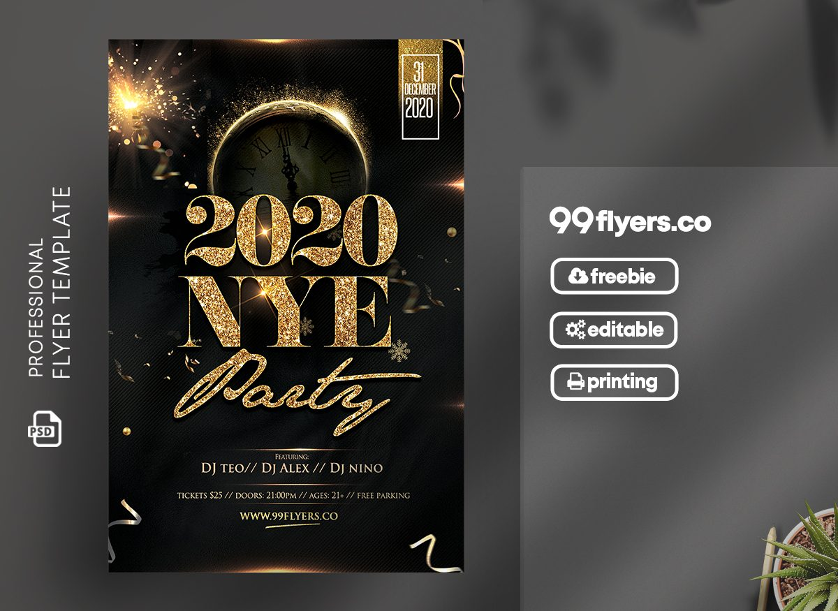 New Year Eve Free PSD Flyer Template