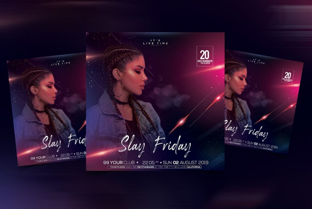 Slay Friday Party Free PSD Flyer Template