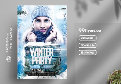 Winter Party Flyer - Free PSD Template