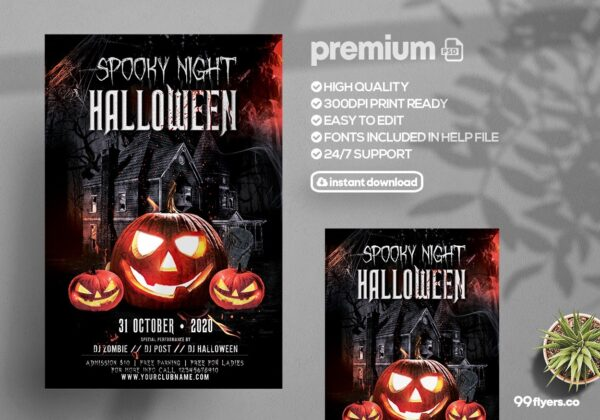 Spooky Night Halloween - PSD Flyer