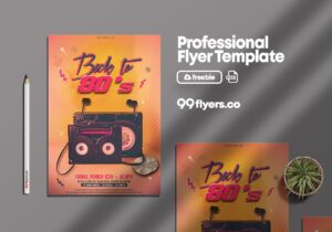 Back to 80's Party – Free PSD Flyer Template