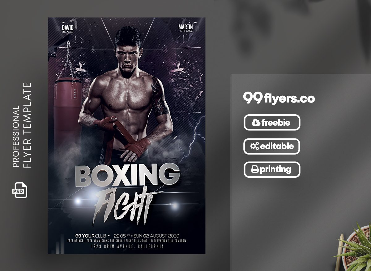 Boxing Tournament Free PSD Flyer Template
