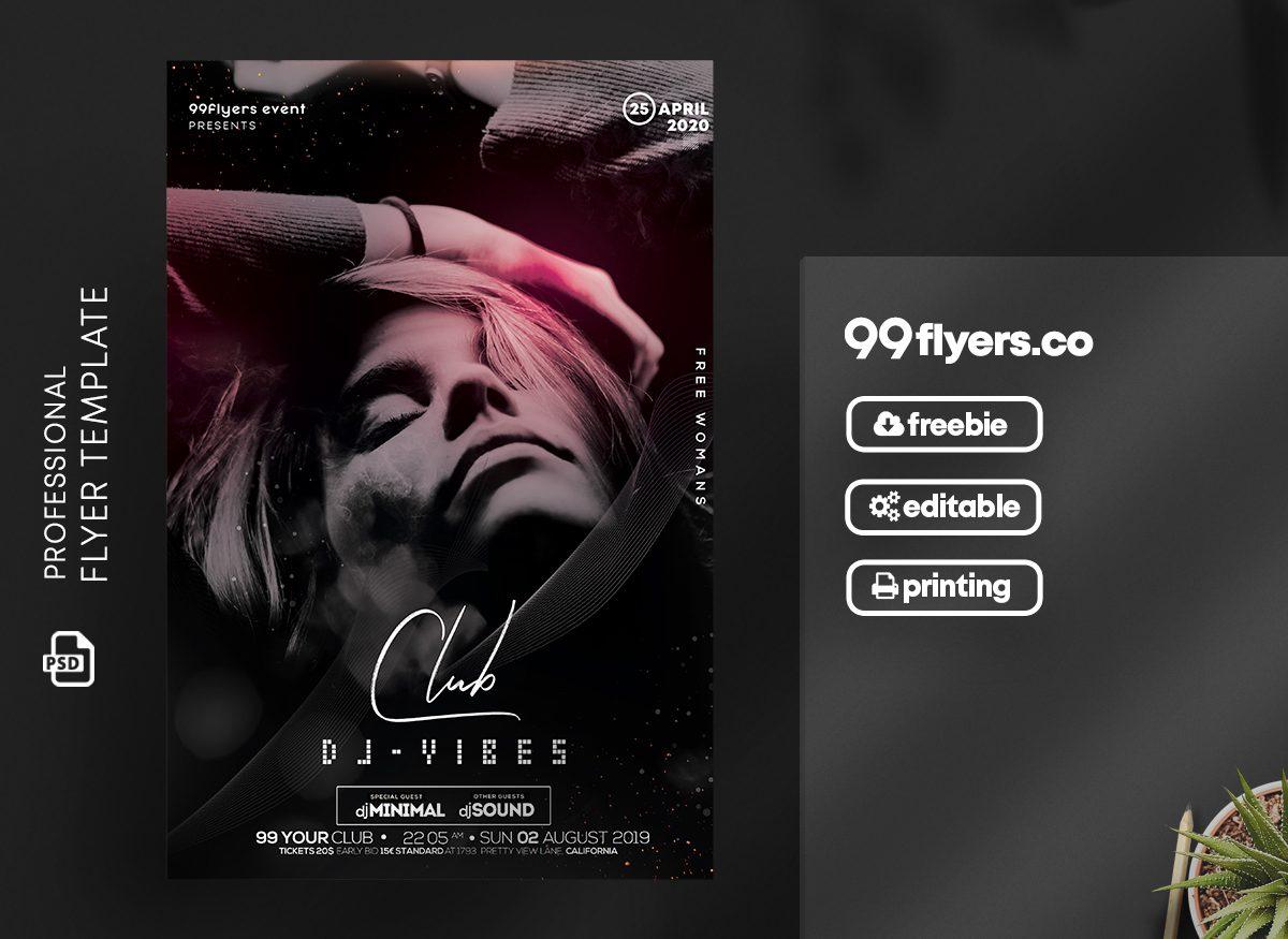 Club DJ - Vibes Free Flyer Template