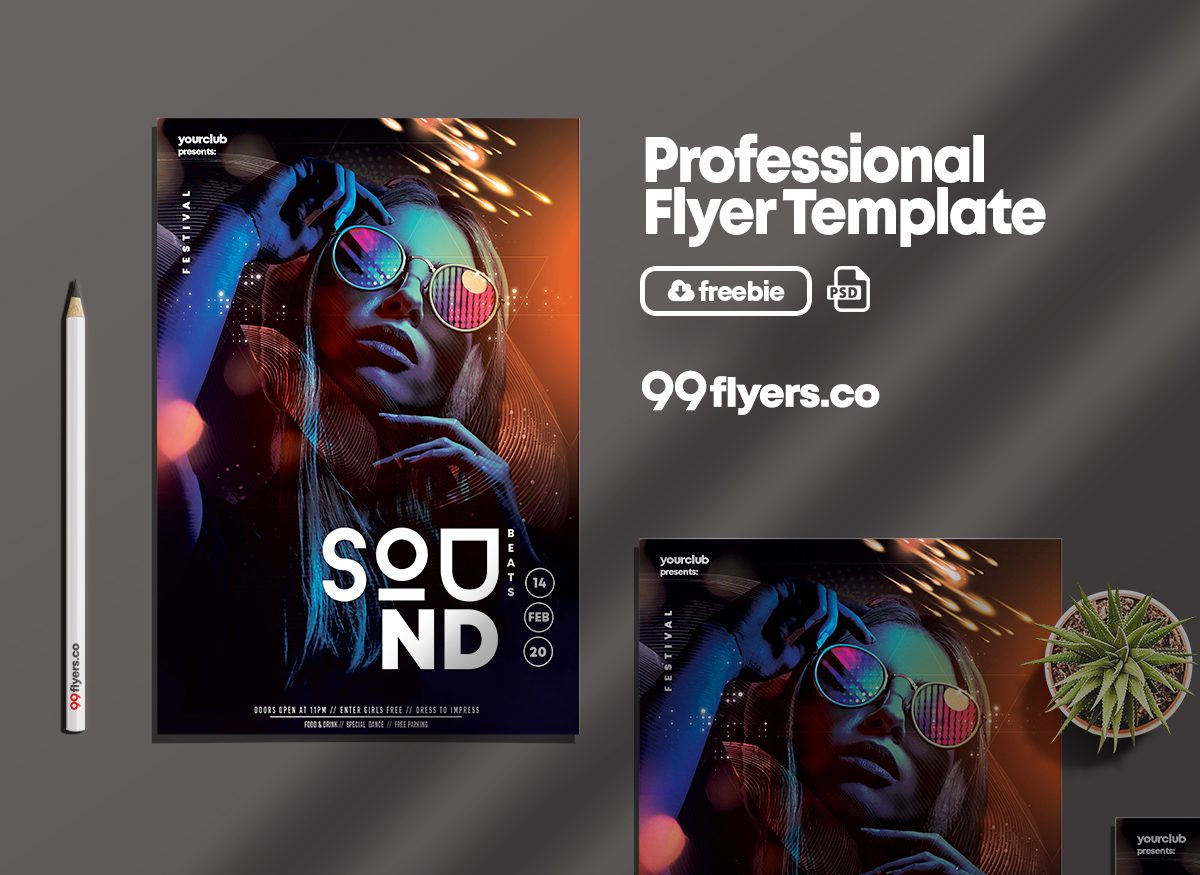 Club Sound - Free Vibrant PSD Flyer Template