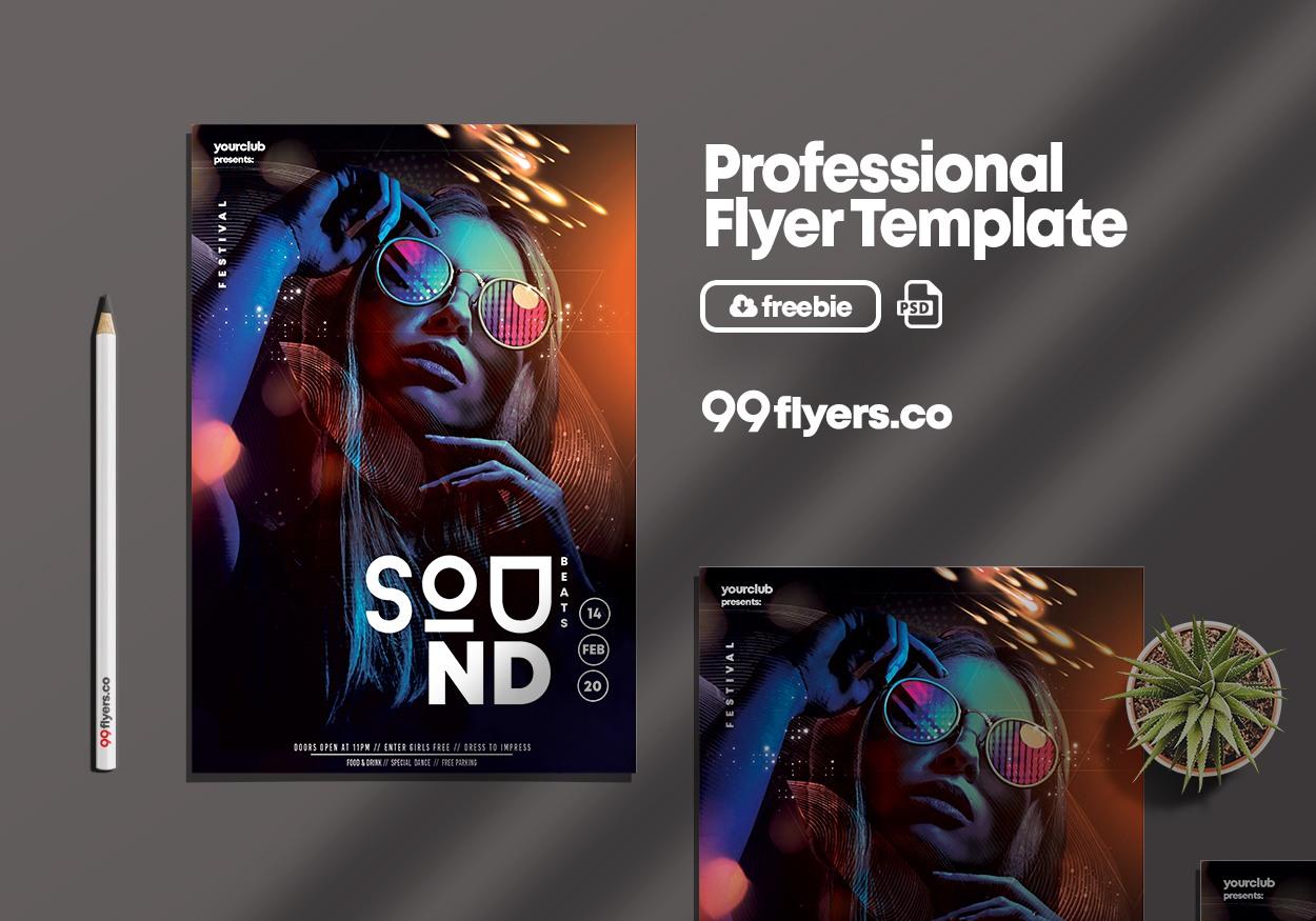 Club Sound - Free Vibrant PSD Flyer Template