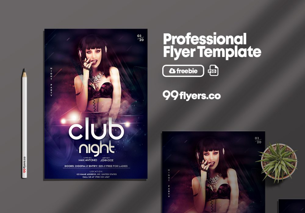 DJ Flyer Party Free PSD Template