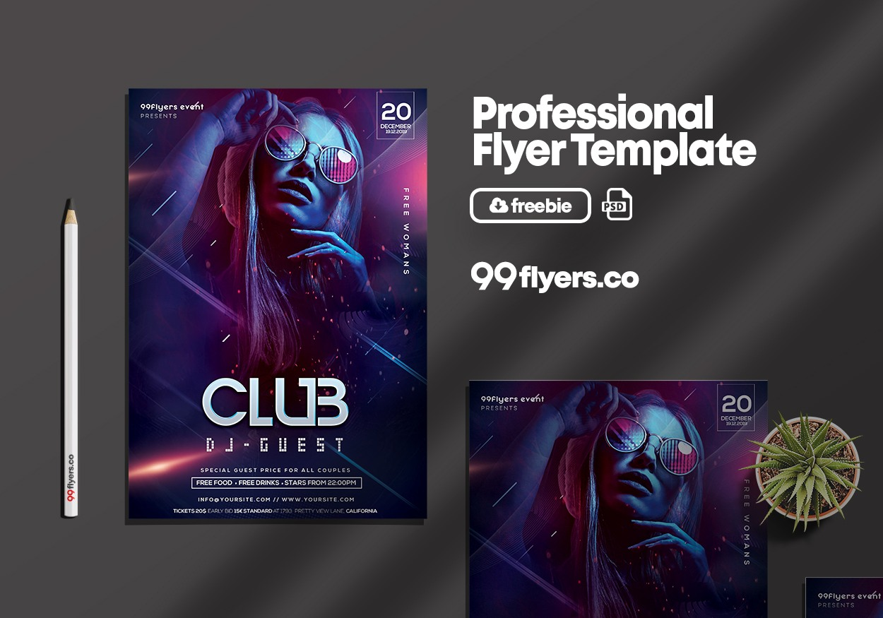 DJ Night Party Flyer - Free PSD Template