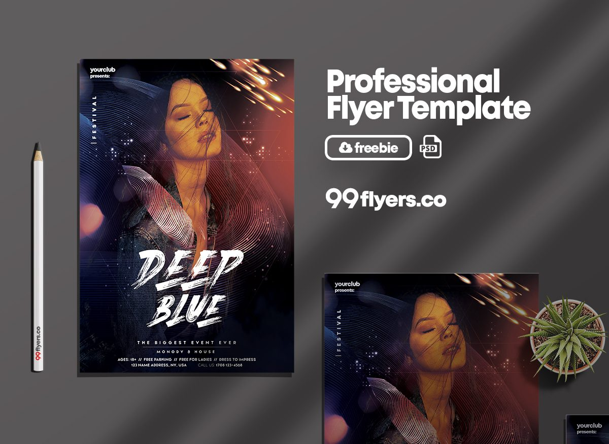 Deep Blue Club Free PSD Flyer Template