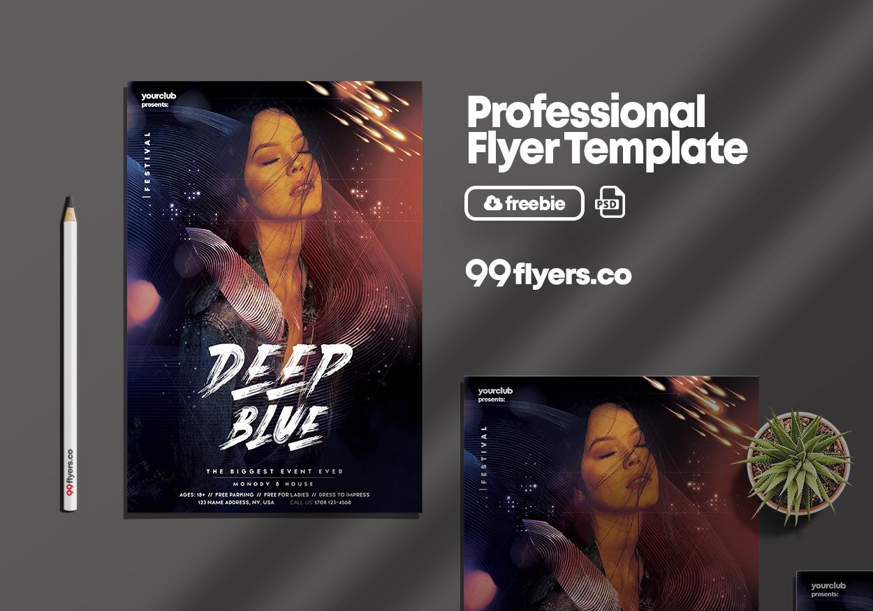 Deep Blue Club Free PSD Flyer Template