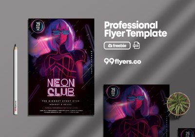 Neon Club Flyer - Free PSD Template