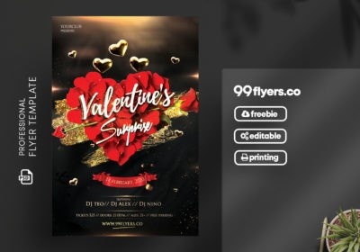 Elegant Valentine's Event Free PSD Flyer Template