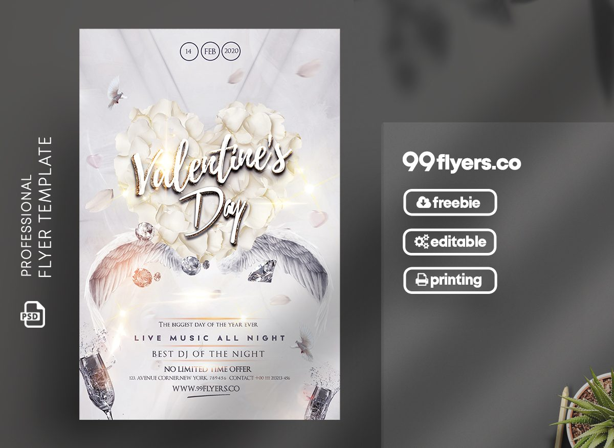 Happy Valentine's Party Free PSD Flyer Template