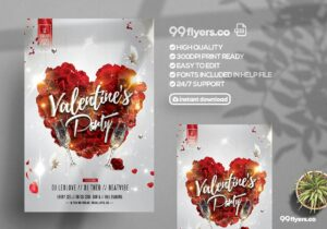 Love Affair Valentine's Party Free Flyer Template
