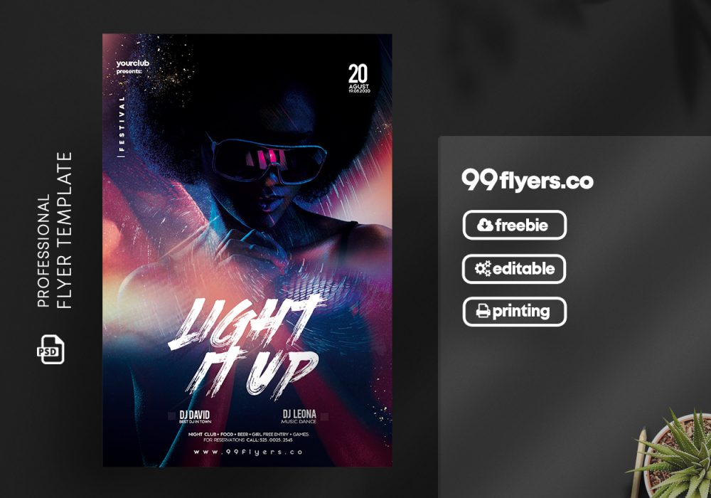 Light it Up Party Flyer - Free PSD Template