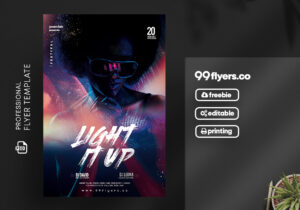 Light it Up Party Flyer – Free PSD Template