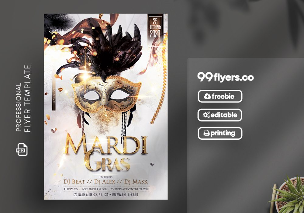 Mardi Gras Flyer Template from 99flyers.co