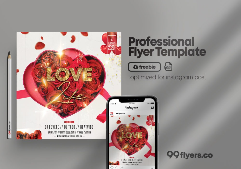 Realistic Valentine's Flyer Free PSD Template