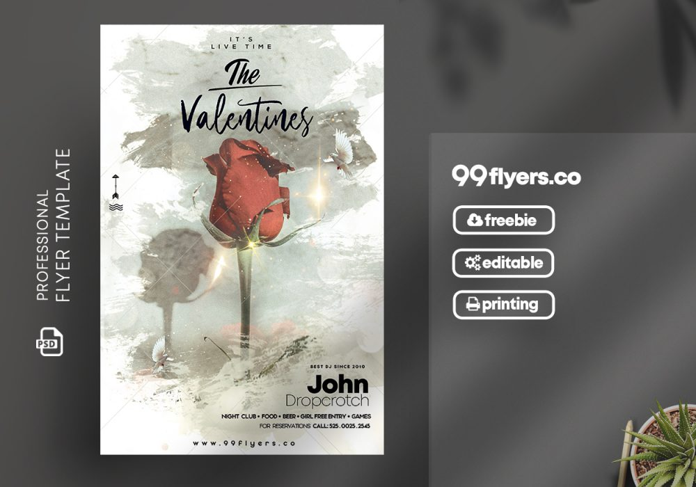 The Valentines Party Free PSD Flyer Template