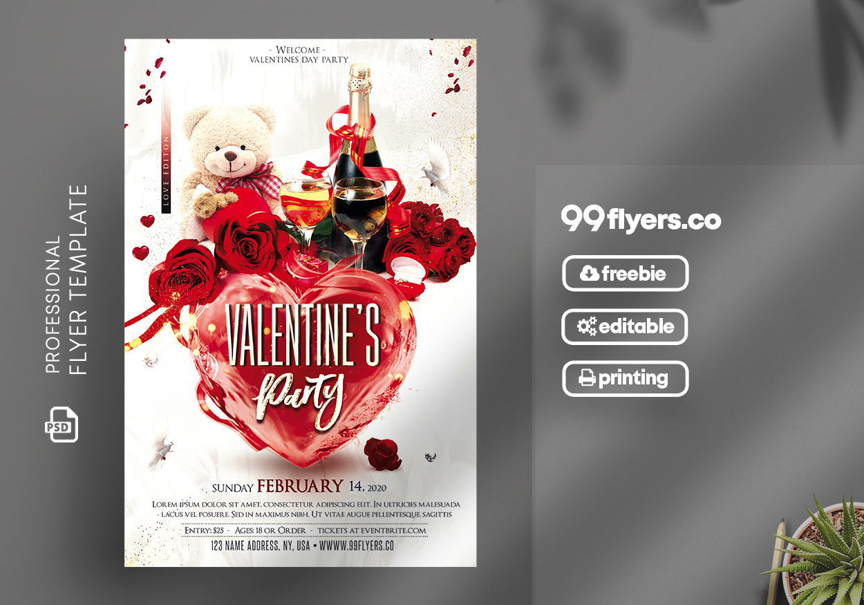 Valentines Love Party Flyer - Free PSD Template