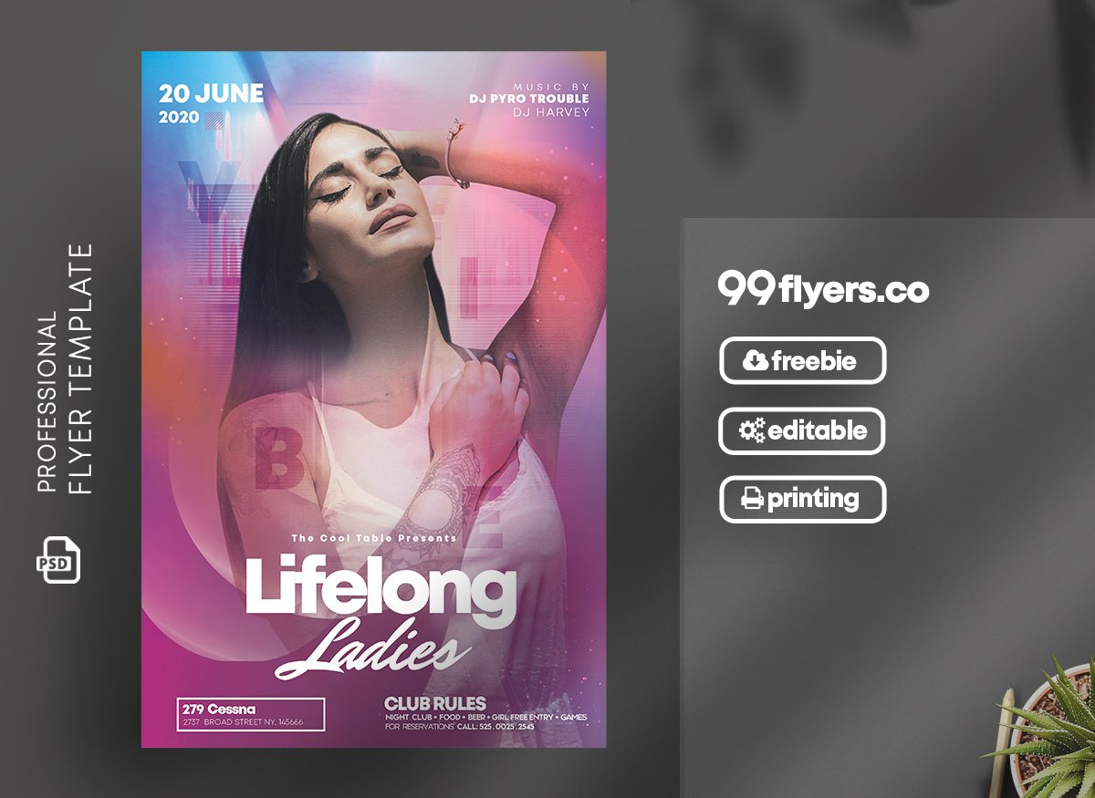 DJ Party Flyer Free PSD Template