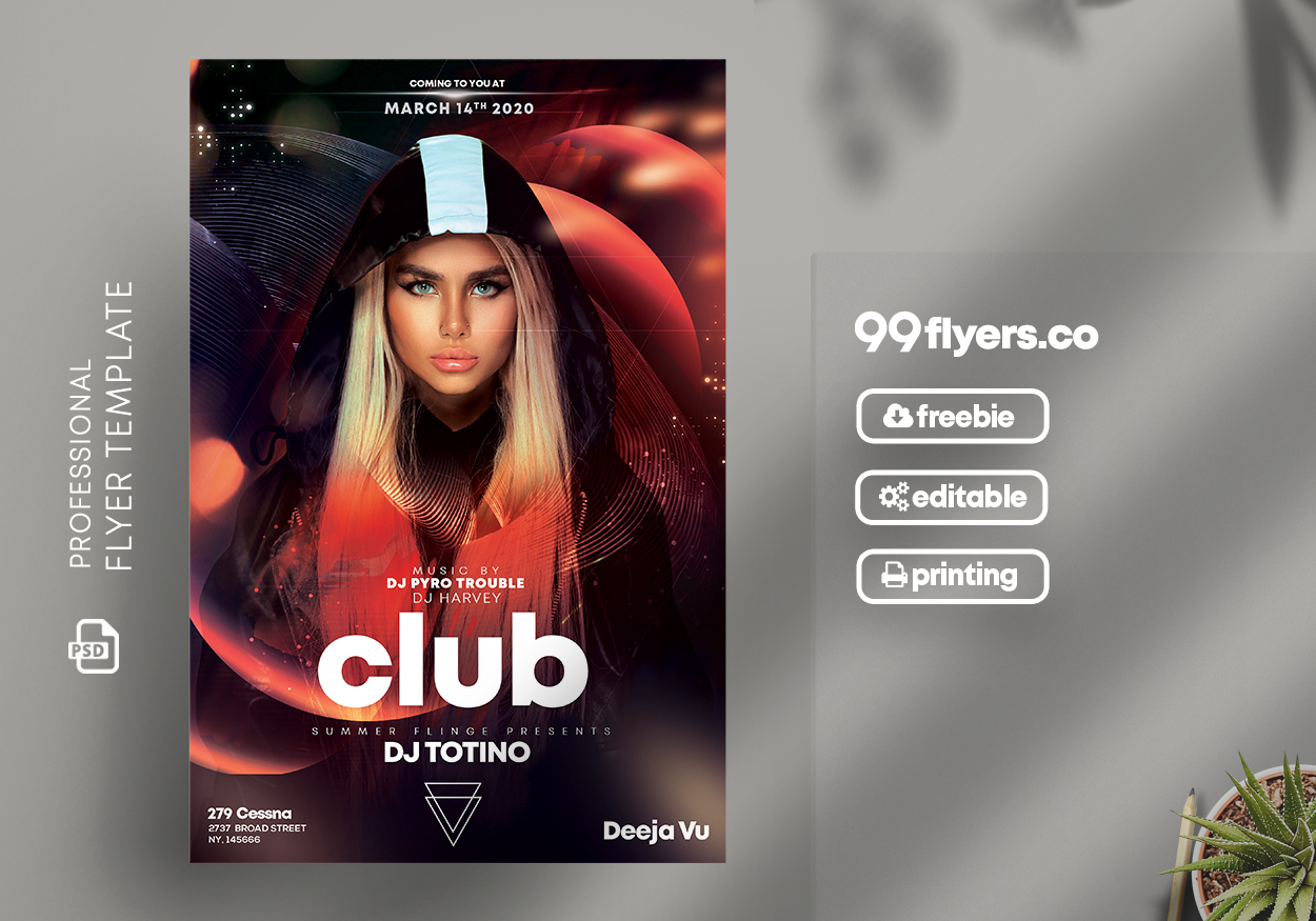 Futuristic Club Party Free PSD Flyer Template